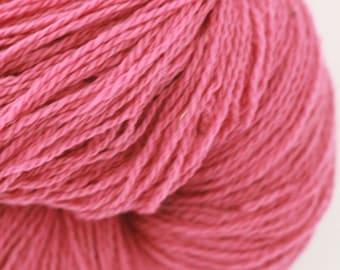 Wool Yarn 2ply, Watermelon Pink Wool Yarn, 3.5 oz, 100g