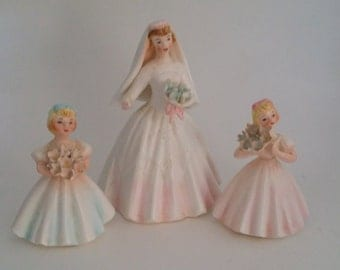 Vintage Bride and Flower Girls Ceramic Figures, Pink, Blue and White, with Bouquets, Bride Marked 536, Shower Decor, Wedding Party Gifts