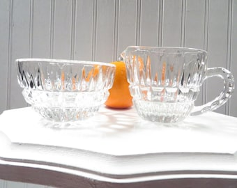 Vintage Cream and Sugar Set - Clear Glass 1960s Mid-Century
