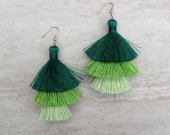 Silk Tassel Stack Earrings Green Ombre Combo Tassle Earrings Festival Tassel Earrings Tassle Earings BOHO Earrings Summer Jewelry