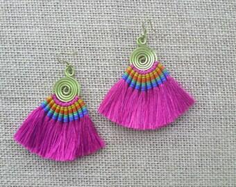 Hot Pink Tassel Fringe Earrings, Tassle Fan Earrings, Layered Silk Tassel Earrings, Wedding Jewelry, Holiday Earrings