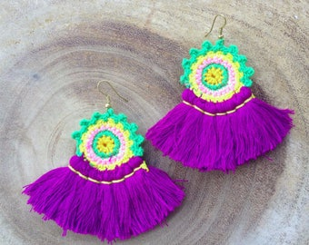 Purple Crochet Tassel Earrings Handmade Tassel Earrings Long Tassle Earings BOHO Earrings Gypsy Tassle Jewelry Trending Wholesale Jewelry