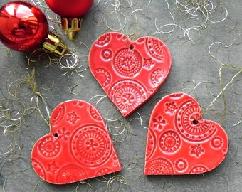Christmas Ornaments Red Lace Heart Ceramic Winter Home Decoration Gift Set of 3