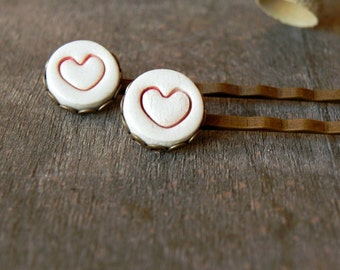 2 Ceramic Bobby Pins Red Heart  White Porcelain Antique Bronze Lace Round Tray Straight Hair Clips Romantic Hair Accessories