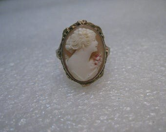 Vintage 14kt Gold Cameo, Early 1900's, size 4.25, 3.79 gr. signed CP, 14kt. (can be made larger)
