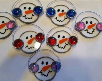 Stained glass snowman face ornament