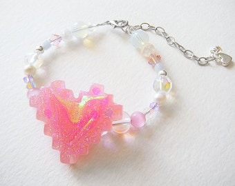 Mahou Shoujo: Holographic Magical girl/Magical Boy Doki Doki Pixel Heart crystal beaded bracelet