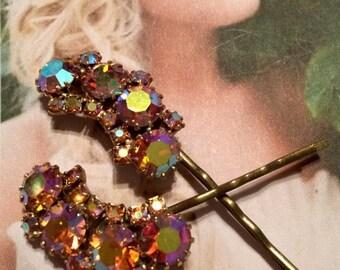 HOLIDAY SAVINGS Decorative Hair Pins Jewelry Weiss 1950's Crystal Waterfalll Rhinestone Bridal Hairpins Bobby Pins