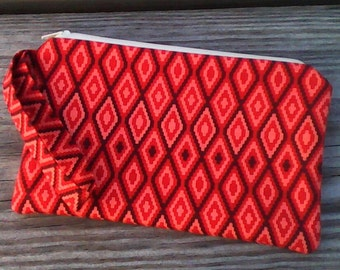 Wristlet Purse, Wristlet Clutch, Cell Phone Wristlet, Red Diamond Wristlet, Tribal Wristlet, Red Purse, Red Tote