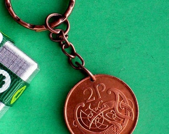 1985 Twopence, 32nd Birthday, 32nd Anniversary, Irish 2p Keychain, Stylised Celtic bird, Direct from Ireland dates available