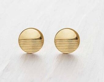 gold earrings, gold stud earrings, gold post earrings, horizon earrings, medium gold studs, simple gold stud earrings, round gold studs