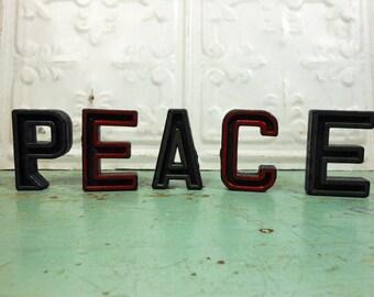 Vintage Alphabet Block Letters Peace Set of Five P E A C E