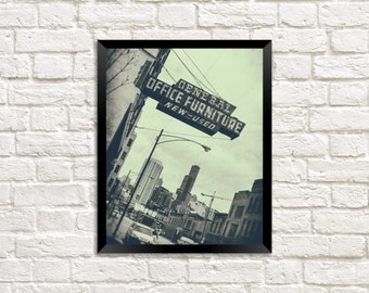 Office Furniture - Chicago Vintage Sign Photography Print photo