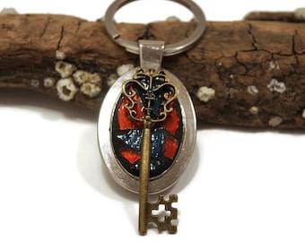 Mosaic Key Chain, Stained Glass Key Chain, Key, Gothic Key Chain, Key Charm, Stained Glass, Mosaic, Blue and Orange Key Chain, Sweet 16th