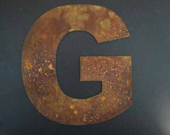 """9"""" Rusted Metal Letters with or with out mounting holes"""