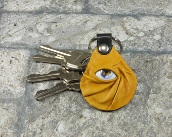 Yellow Leather Key Ring Key Charm Keyring Purse Charm Key Fob Harry Potter Labyrinth
