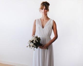 Ready to wear wedding gown, 2 in one wedding gown, Chiffon and lining bridal gown, Minimal wedding dress  1090