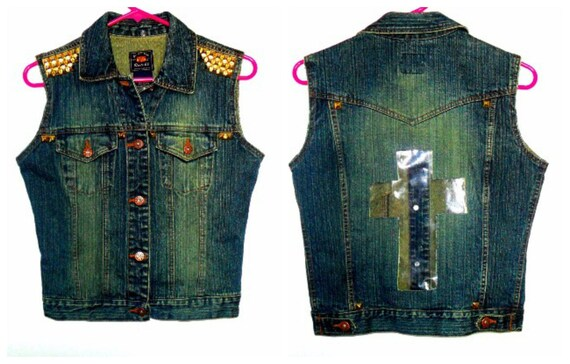 Cross Denim Studded Vest