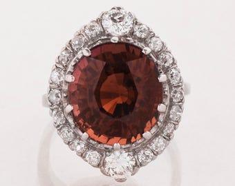 Antique Ring - Antique Platinum Cinnamon Red Tourmaline & Diamond Ring