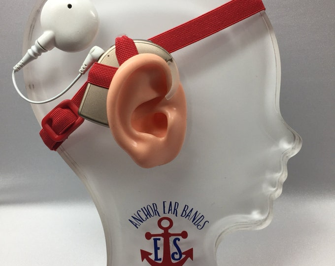 Red - Cochlear Implant Heaband - Adjustable Length - Silicone Grip Sleeve - Non Slip Grip  - Unilateral, Bilateral, Bimodal options