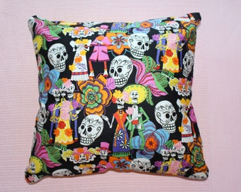 Day of the dead candy skull print cushion cover 45cm X 45cm 100% quilting quality cotton hand made