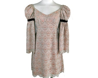 Vintage Boho 70s Lace Mini Dress with Bell Sleeves M