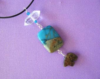 Totem Necklace, Totem Animal, Totem Jewelry, Crystal Jewelry, Quartz Crystal, Jasper, Gemstone, Bear