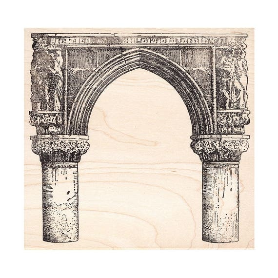 Gothic Archway 1021O Beeswax Rubber Stamps Architecture