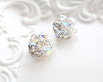 Vintage, Faux Clear Glass Clip On Earrings, Summer Wear, Gifts for Her,
