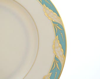 Vintage, Dinner Plate by Lenox, Bellevue Sea-Green Pattern, Wedding Table, Beach Wedding, Replacement China - ca. 1939 - 1975