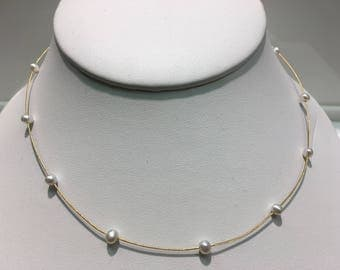 Genuine Pearls In 14K Gold Wire Necklace