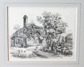 c.1875, Delightful Girl, Chickens, in Home Garden, Original Graphite Drawing, Great Condition, Archivally Matted, Mounted, Ready to Frame!