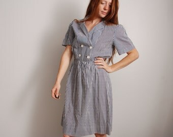 80s large blue and white vertical striped cross chest button midi knee high skirt nautical theme womens vintage dress clothing