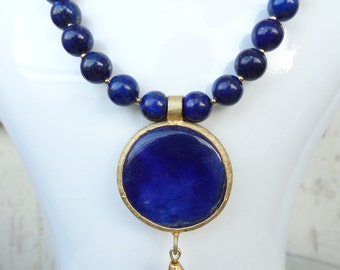 Lapis Lazuli Gold Necklace, 8mm Lapis Lazuli,Lapis Pendant, Navy Blue Necklace, Stone Jewelry, Elegant,Feminine, Women Gifts,Christmas Gift