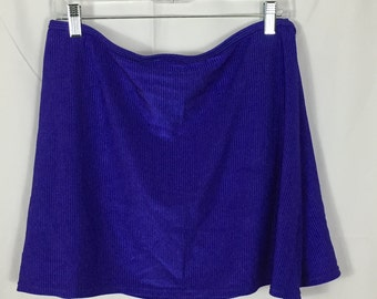 Plus Size Blue Ribbed Bathing Suit Skirt Coverup/ Size 3X