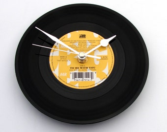 "Mr BIG Vinyl Record Clock, ""To Be With You"", Wall Clock, recycled 7"" single, Retro, recycled, cool Rock Metal, unique gift, black and yellow"