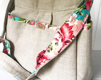 Gender Neutral Linen and Floral Diaper Bag