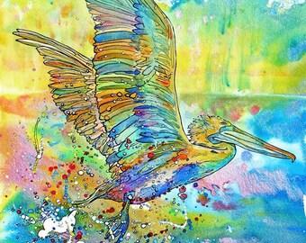 Pelican Flight-Art by Jen Callahan Tile,Cuttingboard,Paper Print