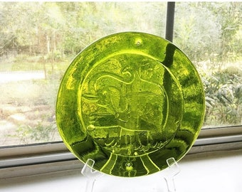ON SALE Vintage Blenko Glass Sun Catcher - Elephant Decor