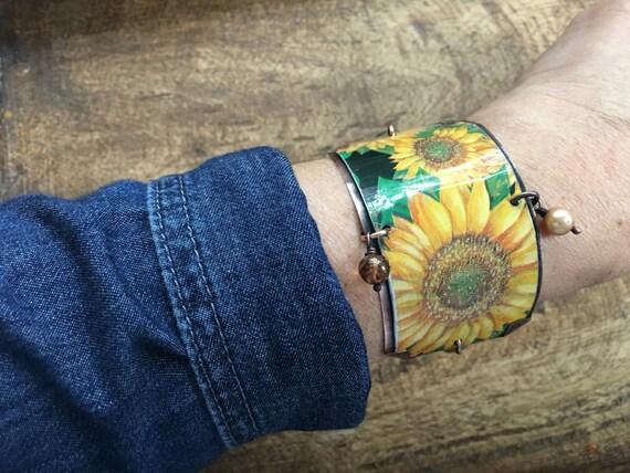 Rustic Tin Jewelry 'Sunflower' bracelet - recycled jewelry . up cycled . tin bracelet . yellow flower garden bracelet . bohemian boho  wrist