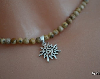 Pearl Necklace natural stone with Sun sterling silver
