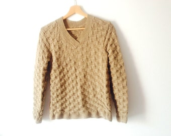 Hand Knitted sweater women, hand knit beige sweater, linen cotton long sleeve sweater