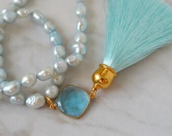 Long pearl necklace Long tassel necklace Aqua blue hydro topaz gemstone Aqua silk tassel pendant Boho bead tassel pendant Bohemian jewelry