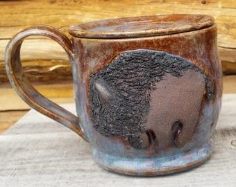 Large Lidded Pottery Mug with Lid, Bison, Buffalo mug, Huge coffee cup, Buffalo, Prairie, Wild Animal, Wild West, MADE TO ORDER 4-6 Weeks