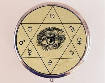 Occult Eye Pill Box Case Pillbox Holder Trinket Stash Box Hexagram Antique Occultism Magick