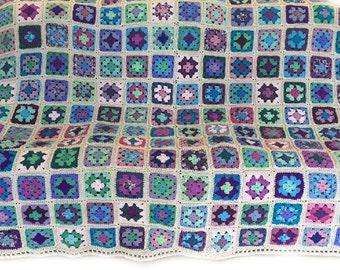 Crochet afghan crochet blanket king size handmade blanket granny square afghan grey blanket lavender blanket blue blanket,  MADE TO ORDER