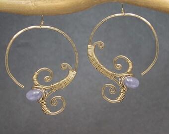 Hoop earrings choice of gemstone Cleopatra 145