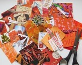 Collage kit, color coordinated, orange , art kit, paper goodies, clippings, journaling, scrapbooking