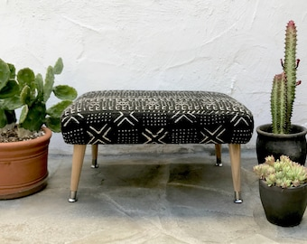 Mudcloth Footstool Mid Century Tapered Legs Black & White African Mudcloth Fabric Mid Century Footstool Mud cloth Foot Stool Ottoman