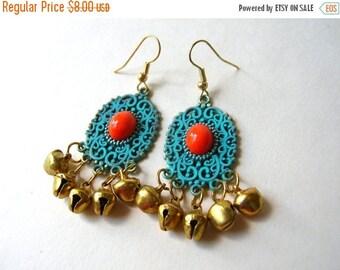 Bohemian Earrings - Boho Bell Earrings - Patina Earrings -Dangle Earrings